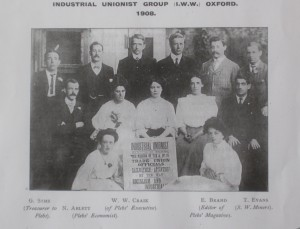 Industrial Unionist Group (IWW) Oxford, 1908: 'Red Scare' photograph * published by 'Ruskin College students in residence' following Ruskin Students' Strike. Watkins is second from left, back row.