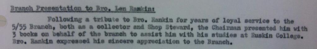 snapshot from minutes of meeting of 5/55 Branch TGWU, 1973