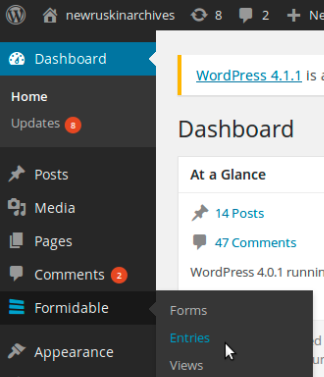 screenshot showing how to access to Formidable plugin