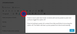 screenshot showing Paste As Text button