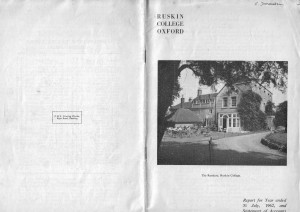 Ruskin College Annual Report July, 1962